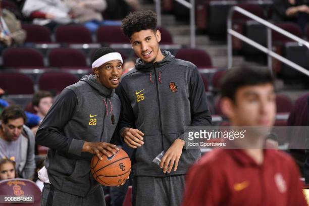 USC guard De'Anthony Melton and USC forward Bennie Boatwright look on before a college basketball game between the UC Santa Barbara Gauchos and the...