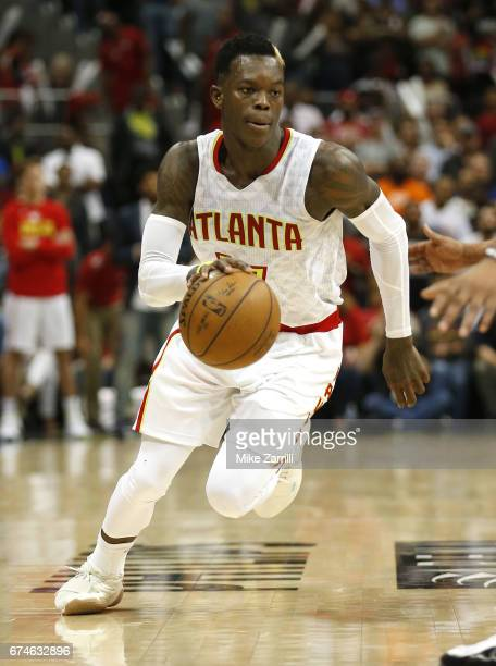 Guard Dennis Schroder of the Atlanta Hawks dribbles during Game Six of the Eastern Conference Quarterfinals against the Washington Wizards at Philips...