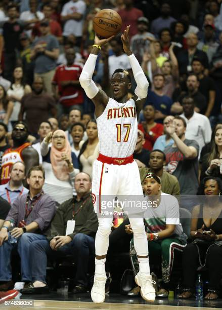 Guard Dennis Schroder of the Atlanta Hawks shoots during Game Six of the Eastern Conference Quarterfinals against the Washington Wizards at Philips...