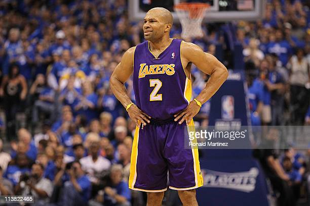 Guard Derek Fisher of the Los Angeles Lakers reacts against the Dallas Mavericks in Game Three of the Western Conference Semifinals during the 2011...