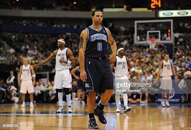 Guard Deron Williams of the Utah Jazz during play against the Dallas Mavericks on November 3 2009 at American Airlines Center in Dallas Texas NOTE TO...
