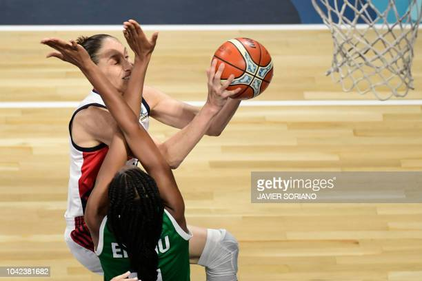 TOPSHOT US' guard Diana Taurasi vies with Nigeria's forward Adaora Elonu during the FIBA 2018 Women's Basketball World Cup quarter final match...