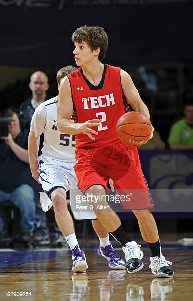 Guard Dusty Hannahs of the Texas Tech Red Raiders moves with the ball against the Kansas State Wildcats during the second half on February 25 2013 at...