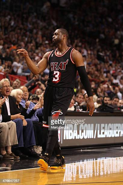 Guard Dwyane Wade of the Miami Heat during a game against the New York Knicks at AmericanAirlines Arena on February 27 2014 in Miami Florida The Heat...