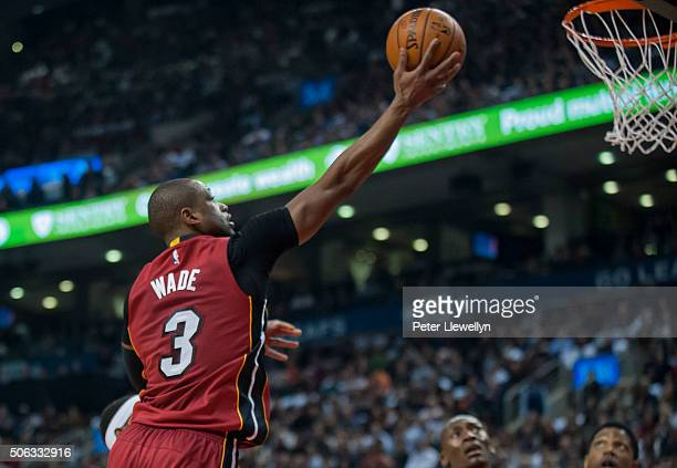 Guard Dwayne Wade of the Miami Heat makes a shot against Toronto Raptors in the second quarter at Air Canada Centre on January 22 2016 in Toronto...