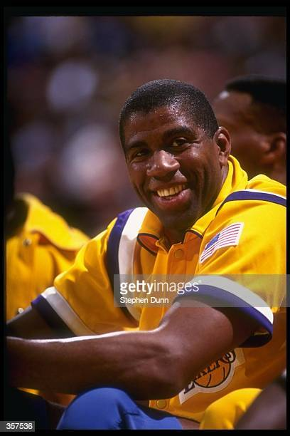 Guard Earvin Johnson of the Los Angeles Lakers looks on during a game against the Utah Jazz at the Forum in Inglewood, California.