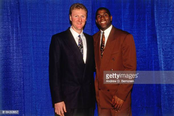 1992 Guard Earvin Johnson of the Los Angeles Lakers poses with Larry Bird at his retirement ceremony at the Great Western Forum in Inglewood...