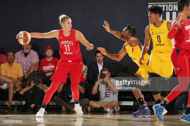 guard Elena Delle Donne of the Washington Mystics passes the ball during the game against the Los Angeles Sparks in Round Two of the 2018 WNBA...