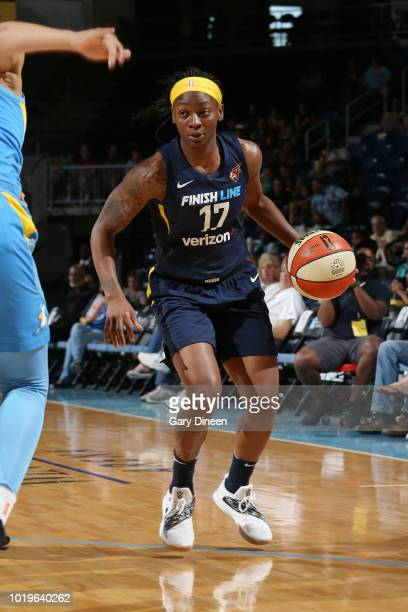 Guard Erica Wheeler of the Indiana Fever handles the ball during the game against guard Allie Quigley of the Chicago Sky on August 19 2018 at the...