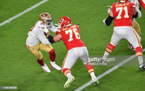 Guard for the Kansas City Chiefs Laurent DuvernayTardif in action during Super Bowl LIV between the Kansas City Chiefs and the San Francisco 49ers at...