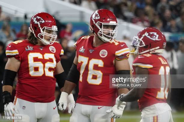 Guard for the Kansas City Chiefs Laurent DuvernayTardif looks on during Super Bowl LIV between the Kansas City Chiefs and the San Francisco 49ers at...
