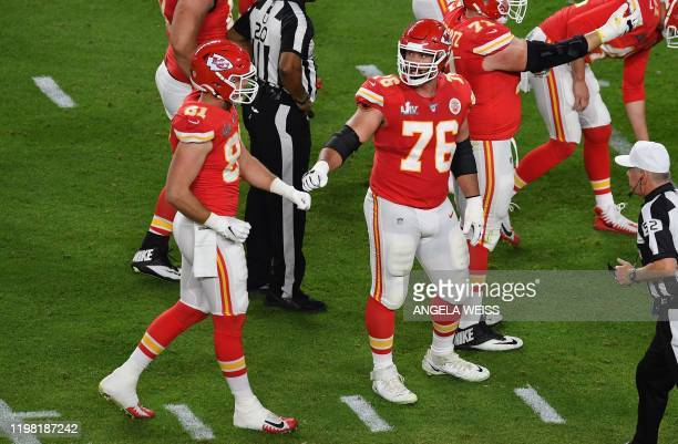 Guard for the Kansas City Chiefs Laurent DuvernayTardif reacts during Super Bowl LIV between the Kansas City Chiefs and the San Francisco 49ers at...