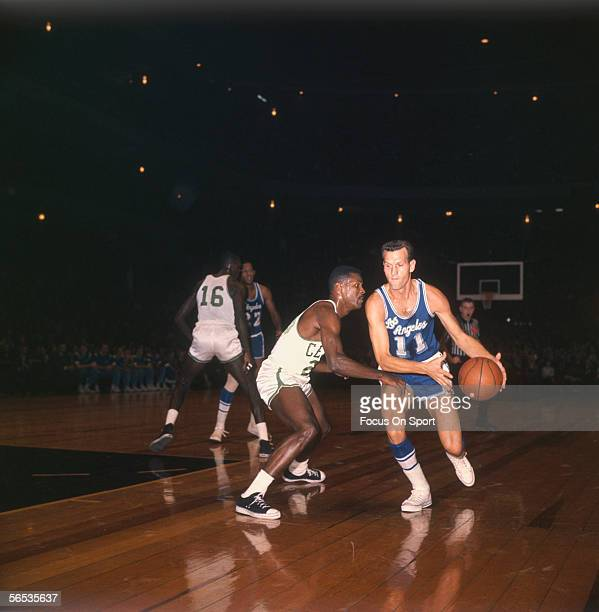 Guard Frank Selvyl of the Los Angeles Lakers dribbles downcourt against the Boston Celtics circa the 1960's during a game.