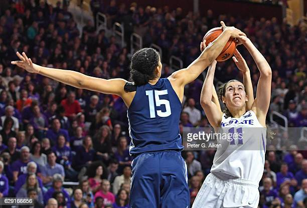 Guard Gabby Williams of the Connecticut Huskies blocks the shot of forward Peyton Williams of the Kansas State Wildcats during the second half on...