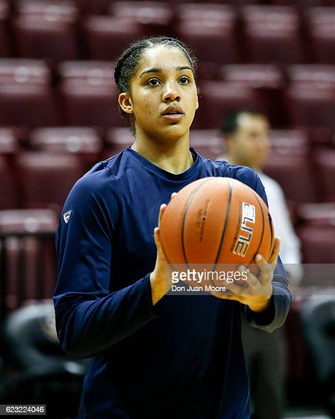 Guard Gabby Williams of the Connecticut Huskies warms up before the game against the Florida State Seminoles at the Donald L Tucker Center on...