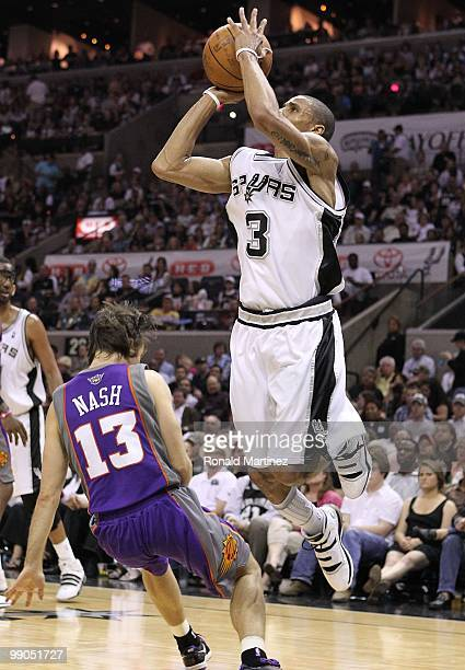Guard George Hill of the San Antonio Spurs in Game Four of the Western Conference Semifinals during the 2010 NBA Playoffs at ATT Center on May 9 2010...