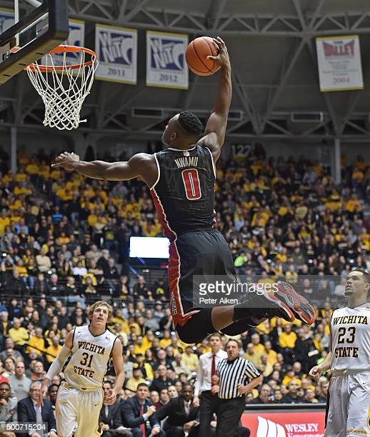 Guard Ike Nwamu of the UNLV Rebels drives in for a dunk against the Wichita State Shockers during the second half on December 9 2015 at Charles Koch...