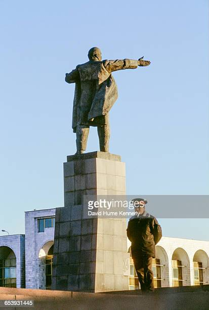Guard in front of a statue in Yekaterinburg Russia November 15 1997 Mrs Clinton is on a trip visiting former Soviet Republics Photo by David Hume...