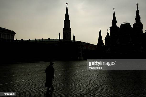 A guard is seen walking in Red Square ahead of the IAAF World Championships on August 5 2013 in Moscow Russia
