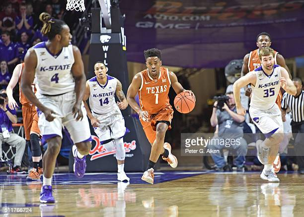 Guard Isaiah Taylor of the Texas Longhorns brings the ball up court against the Kansas State Wildcats during the first half on February 22 2016 at...