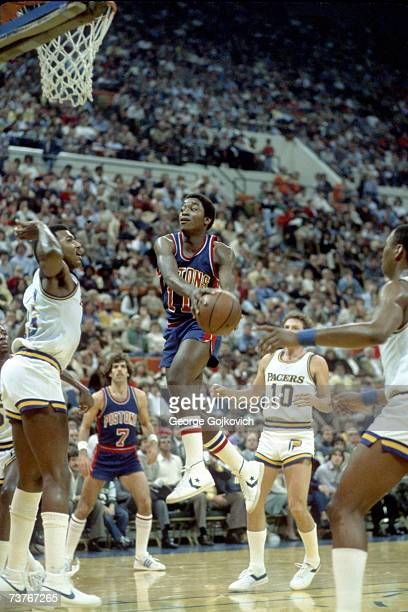 Guard Isiah Thomas of the Detroit Pistons in action against the Indianapolis Pacers during a National Basketball Association game at Market Square...