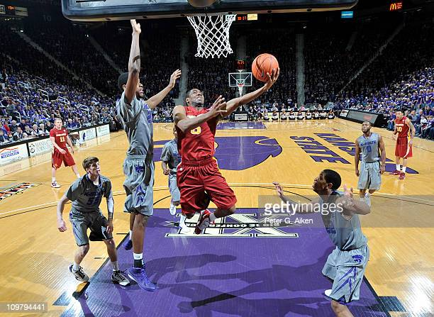 Guard Jake Anderson of the Iowa State Cyclones drives through the lane and scores against the Kansas State Wildcats during the second half on March 5...