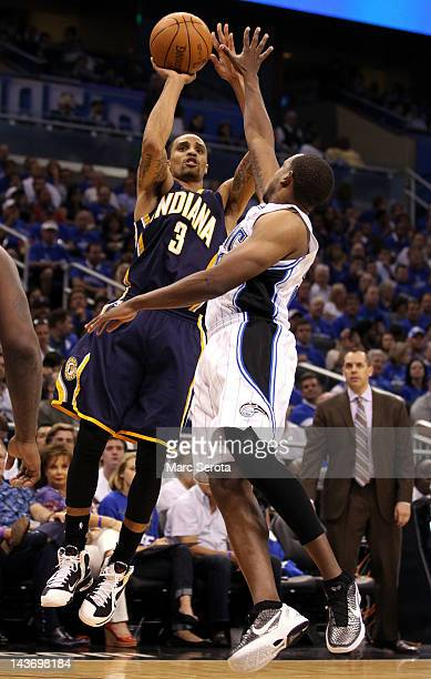 Guard Jameer Nelson of the Orlando Magic defends against Guard George Hill of the Indiana Pacers in Game Three of the Eastern Conference...