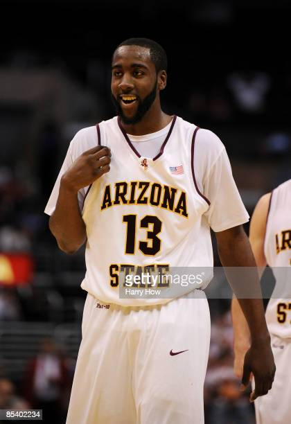 Guard James Harden of the Arizona State Sun Devils smiles after beating the Arizona Wildcats 6856 during the Pacific Life Pac10 Men's Basketball...