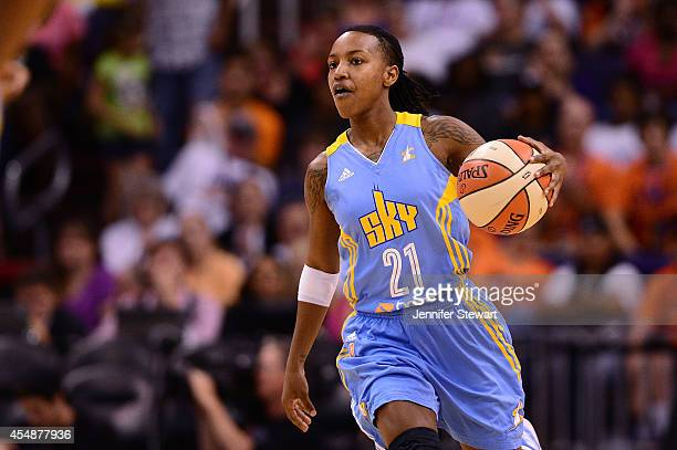 Guard Jamierra Faulkner of the Chicago Sky handles the ball against the Phoenix Mercury in the second half during game one of the WNBA Finals at US...