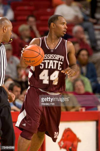 Guard Jamont Gordon of the Mississippi State Bulldogs brings the ball down the court against the Arkansas Razorbacks at Bud Walton Arena on February...
