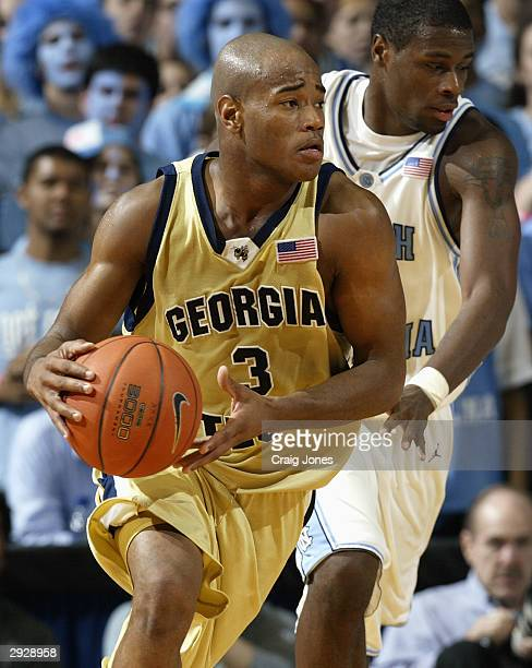 Guard Jarrett Jack of the Georgia Tech Yellow Jackets moves the ball during the game against the University of North Carolina Tar Heels on January 11...