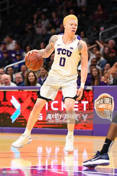TCU guard Jaylen Fisher looks to set up the offense during an college basketball game between the TCU Horned Frogs and the Nevada Wolf Pack in the...