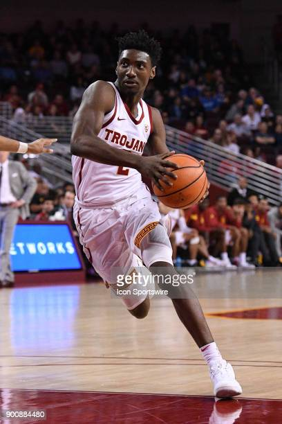 USC guard Jonah Mathews drives to the basket during a college basketball game between the UC Santa Barbara Gauchos and the USC Trojans on November 26...