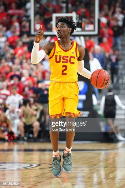 USC guard Jonah Mathews sets up a play during the championship game of the mens Pac12 Tournament between the USC Trojans and the Arizona Wildcats on...
