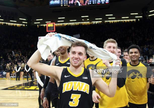 Guard Jordan Bohannon of the Iowa Hawkeyes walks off the court following the overtime win against the Indiana Hoosiers on February 22 2019 at...