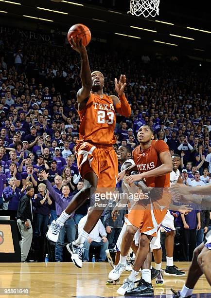 Guard Jordan Hamilton of the Texas Longhorns drives to the basket during a game against the Kansas State Wildcats on January 18, 2010 at Bramlage...