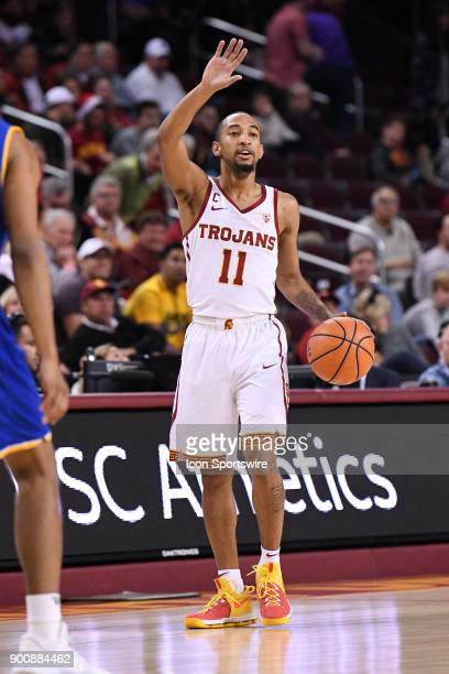 USC guard Jordan McLaughlin sets up the offense during a college basketball game between the UC Santa Barbara Gauchos and the USC Trojans on November...