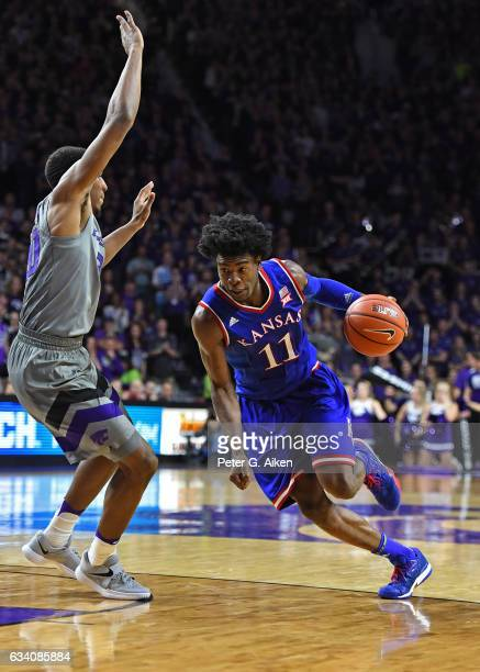 Guard Josh Jackson of the Kansas Jayhawks drives to the basket against the Kansas State Wildcats during the first half on February 6 2017 at Bramlage...