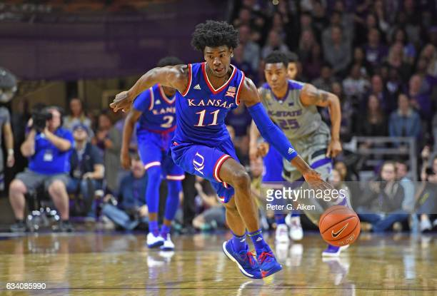 Guard Josh Jackson of the Kansas Jayhawks drives up court against the Kansas State Wildcats during the first half on February 6 2017 at Bramlage...
