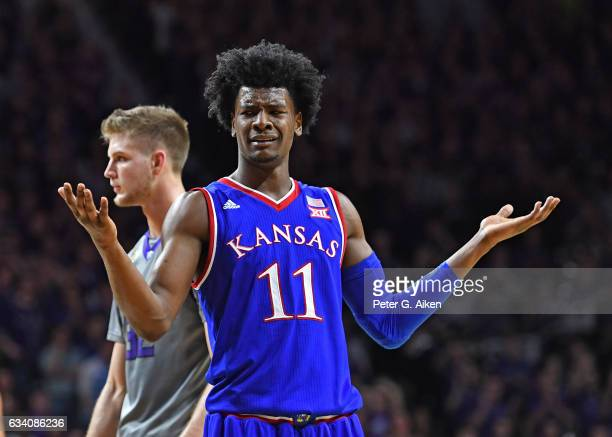 Guard Josh Jackson of the Kansas Jayhawks reacts after a play against the Kansas State Wildcats during the second half on February 6 2017 at Bramlage...