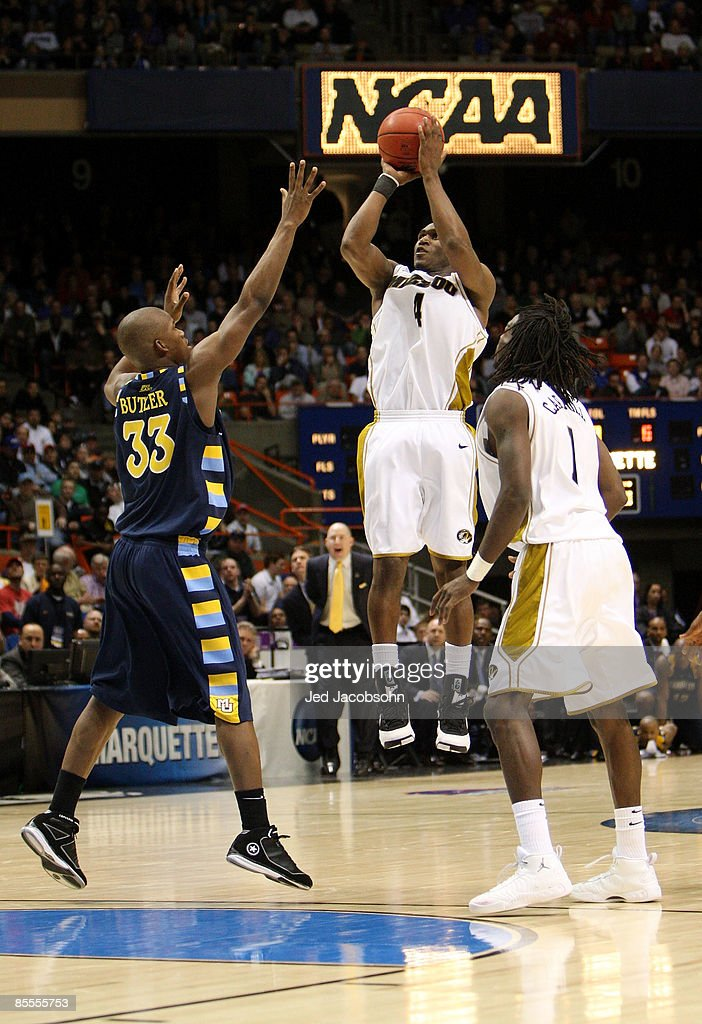 Guard J.T. Tiller #4 of the Missouri Tigers takes a shot against the Marquette Golden Eagles in their 83-79 win in the second round of the NCAA Division I Men's Basketball Tournament at the Taco Bell Arena on March 22, 2009 in Boise, Idaho.