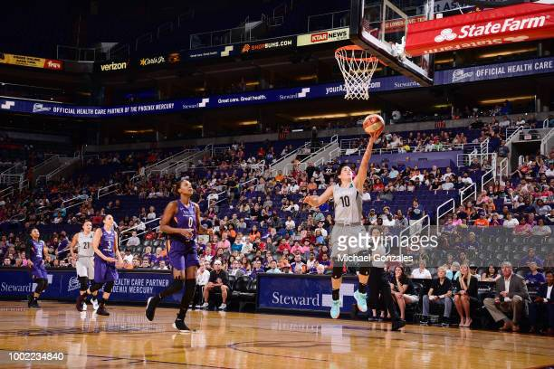 Guard Kelsey Plum of the Las Vegas Aces drives to the basket during the game against the Phoenix Mercury on July 19 2018 at Talking Stick Resort...