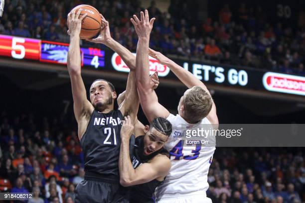 Guard Kendall Stephens of the Nevada Wolf Pack grabs a rebound during firsthalf action against the Boise State Broncos on February 14 2018 at Taco...