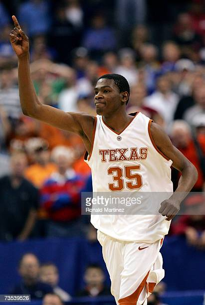 Guard Kevin Durant of the Texas Longhorns reacts during a 7469 win against the Baylor Bears during the quarterfinals of the Phillips 66 Big 12 Men's...