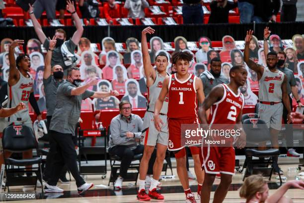 Guard Kevin McCullar of the Texas Tech Red Raiders reacts after making a three-pointer during the second half of the college basketball game against...