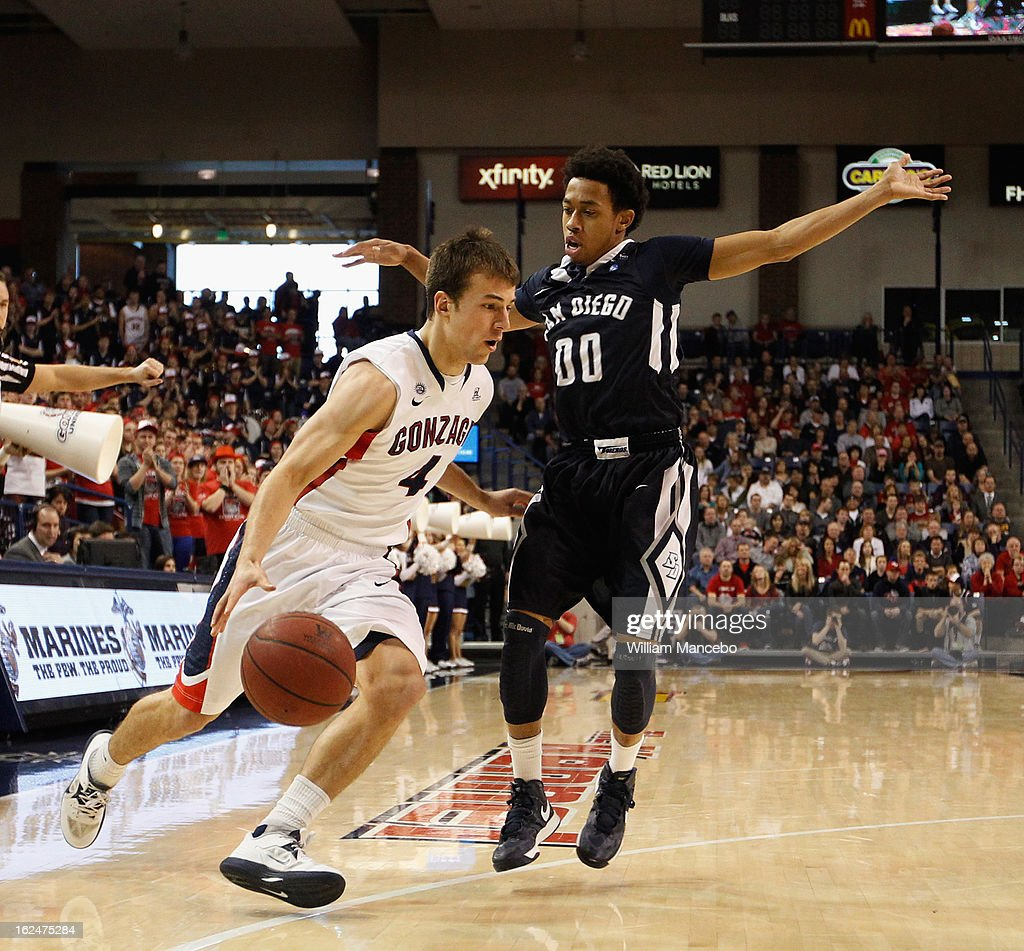 Guard Kevin Pangos #4 of the Gonzaga Bulldogs drives toward the hoop against guard Christopher Anderson #00 of the San Diego Toreros during the game at McCarthey Athletic Center on February 23, 2013 in Spokane, Washington.
