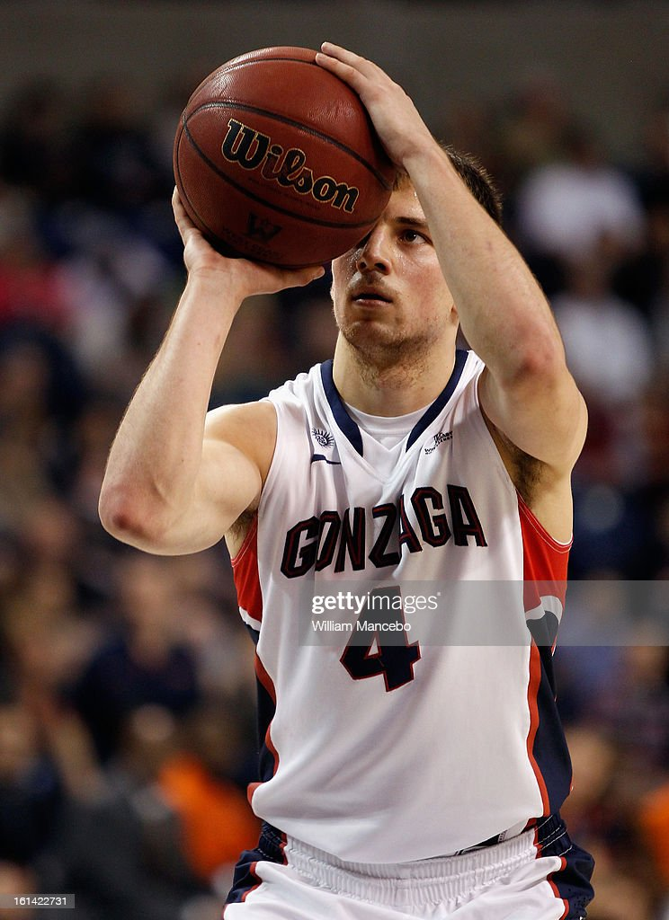 Guard Kevin Pangos #4 of the Gonzaga Bulldogs takes a foul shot during the game against the Pepperdine Waves at McCarthey Athletic Center on February 7, 2013 in Spokane, Washington.