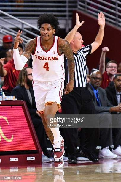 USC guard Kevin Porter Jr celebrates a three pointer during a college basketball game between the Arizona Wildcats and the USC Trojans on January 24...