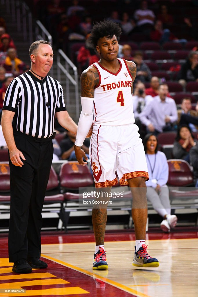 USC guard Kevin Porter Jr. looks on during a college ...