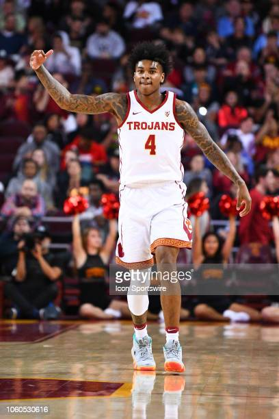 USC guard Kevin Porter Jr reacts to a three pointer during a college basketball game between the Vanderbilt Commodores and the USC Trojans on...